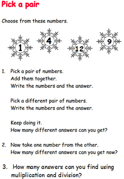 christmas maths investigations